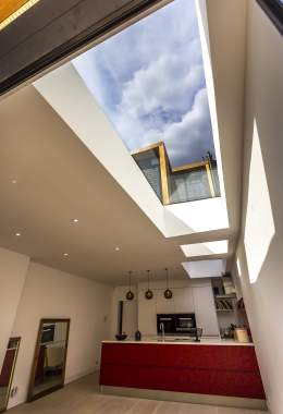 Skylights over living room and kitchen