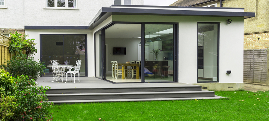 rendered extension with sliding doors hero